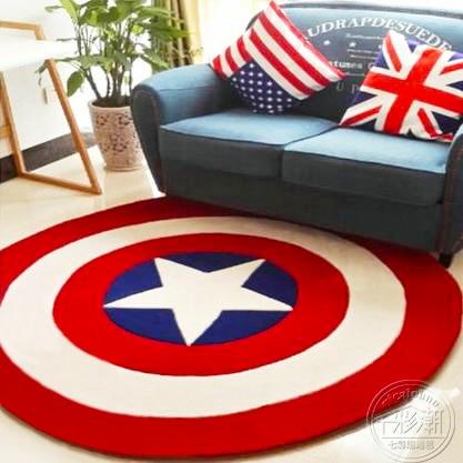 tjock akryl Captain America Shield matta tecknad barn vardagsrum hall matta soffa cirkel dator kudde matta pad
