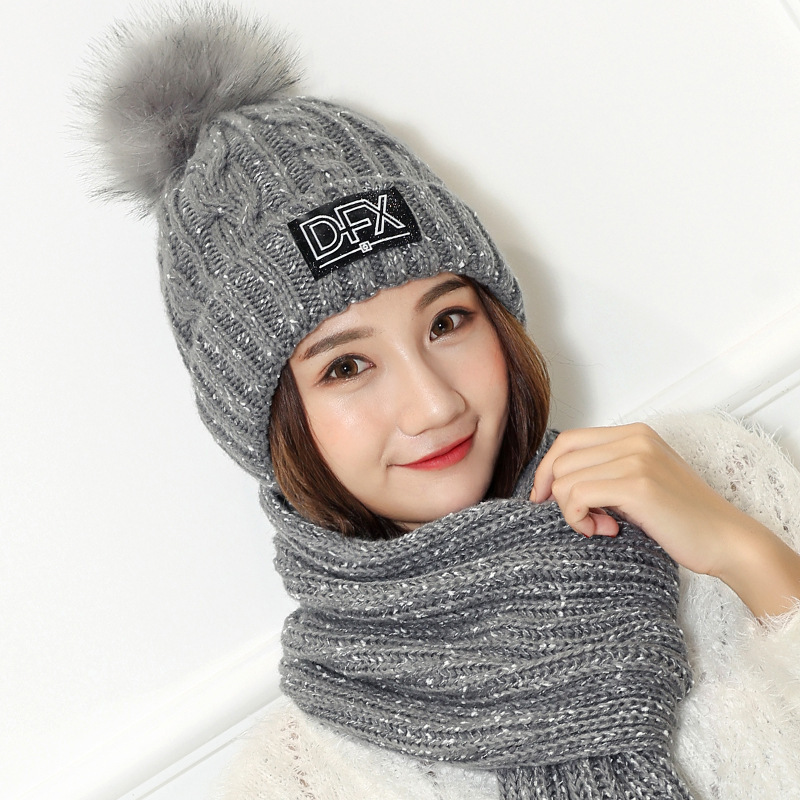 Winter Outdoor Thickening Letter Wool Hat Suit Warm Fur Knitted Hat + Scarf Set Ball Ski Rabbit Fur Hat PomPoms Knitted Scarf