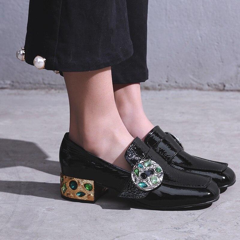 Med Pour Cristal Toe Talons Mode Qualité Femmes Véritable Nouvelle En Pompes Haute Carré Chaussures Black Printemps Zvq Cuir Slip sur Carrés mNwv8n0