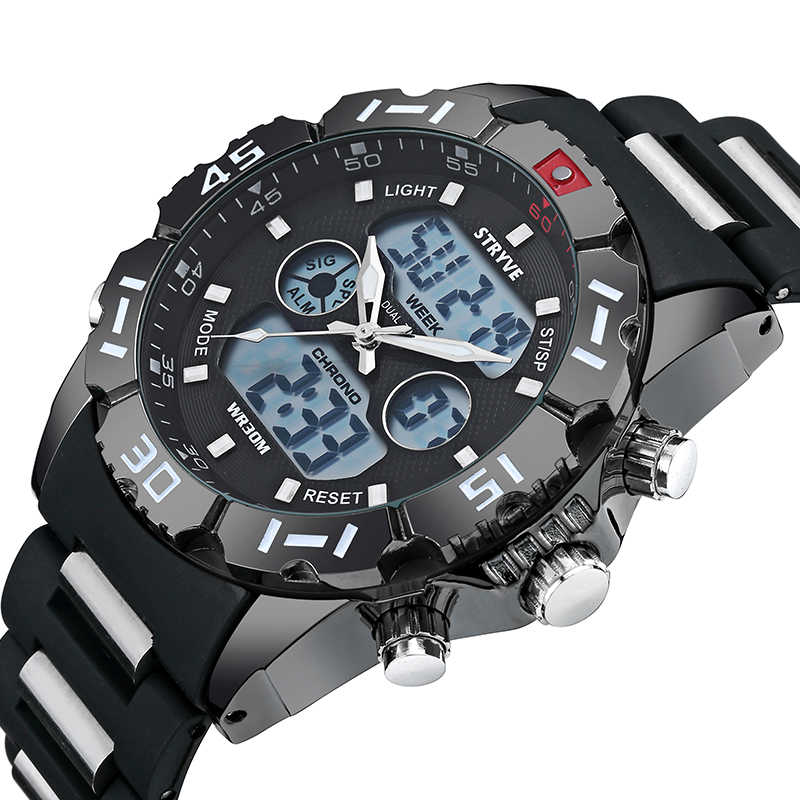Stryve Luxury Brand Sport Watch Men Military Big Dial Waterproof Led Analog Male Clock Quartz Digital Dual Display Wrist Watches