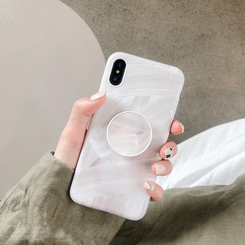 Кольцо воздуха с держателем граффити мрамор чехол для iPhone X XR XS Max Стенд Ручка чехол для iPhone 6 6s 7 8 плюс