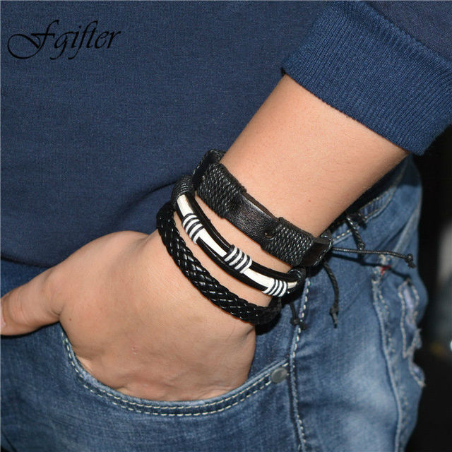 Rock Male Bracelets Men Hand Bracelet Jewelry 20cm Adjustable Handmade Size Wrap Bangles