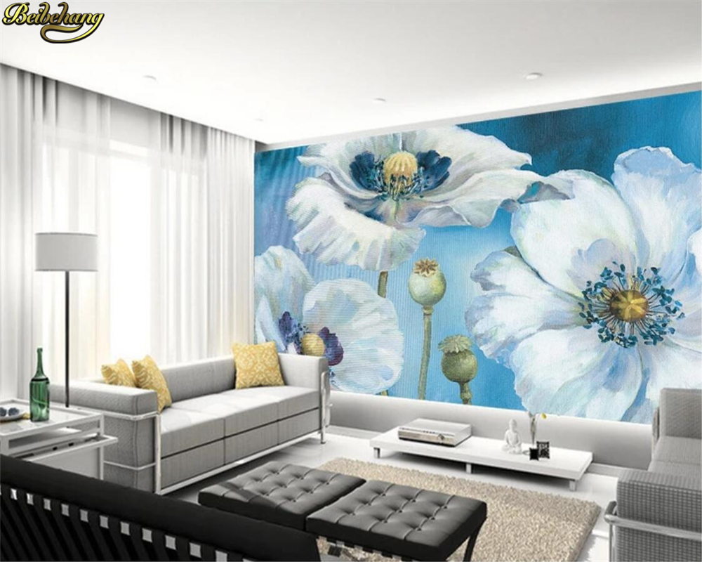 Beibehang Custom Photo Wall Mural 3d Wallpaper Luxury: Beibehang Custom Photo Wallpaper Mural White Poppies Oil