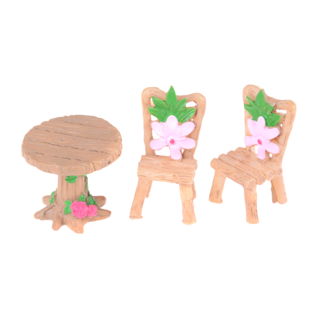 Dolls & Stuffed Toys Careful 3pcs/set Doll House Resin Table Chair Figurines Toy Miniatures Mini Flower Fairy Home Garden Decor Accessories