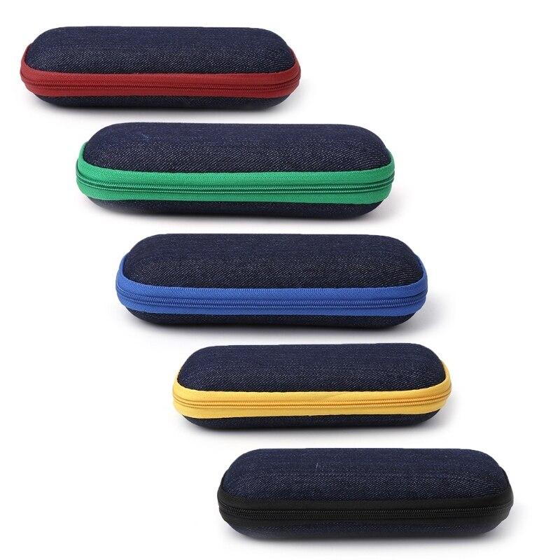 Glasses Box Denim Fabric Zipper Sunglasses Protection Crush Resistance Container