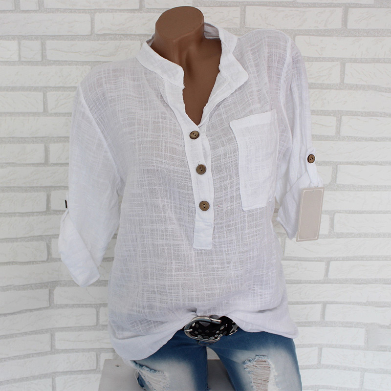 Womens Cotton Linen Stand Collar Shirt Tops Plus Size 5XL White Solid Pocket Womens Shirts 2020 Summer Spring Loose Top Female