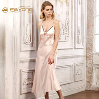 The New Summer Clothes Home Furnishing Lady Silk nightgown 100% Silk Sexy Long Nightdress