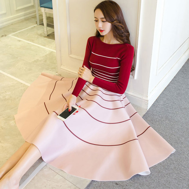 New Women's Dress Spring 2017 Elegant Knitted 2 Pieces Sets O-neck Long-sleeve Slim Stripe Sweater + Fashion A-line Skirt Female