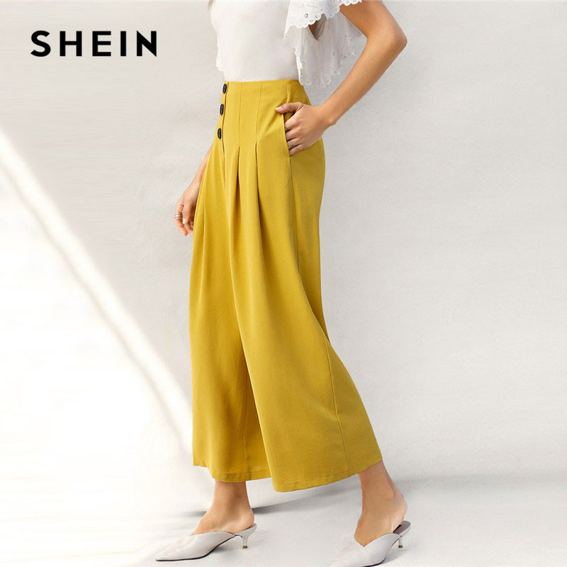 SHEIN Lady Zip Back Buttoned Front Pleated   Wide     Leg     Pants   Women Spring High Waist Loose Elegant Workwear Women Trousers