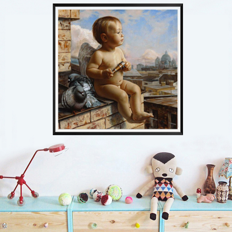 Любящее Vibe фото ребенка угол сидеть на доказательство играть с голубями современные DIY цифровой живописи маслом по номерам для дома украшен...