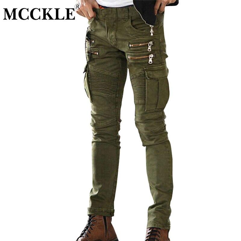 MCCKLE Green Black Mens Denim Biker Cargo Jeans Brand Men Stretch Skinny Moto Pencil Jeans Runway Distressed Motorcycle Jean nwt bp men s stylish fashion stretch slim cargo washed biker green jeans size 28 40 933