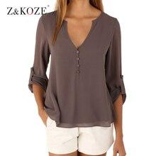 Z&koze chiffon v elegant blouse button shirts neck deep solid tops