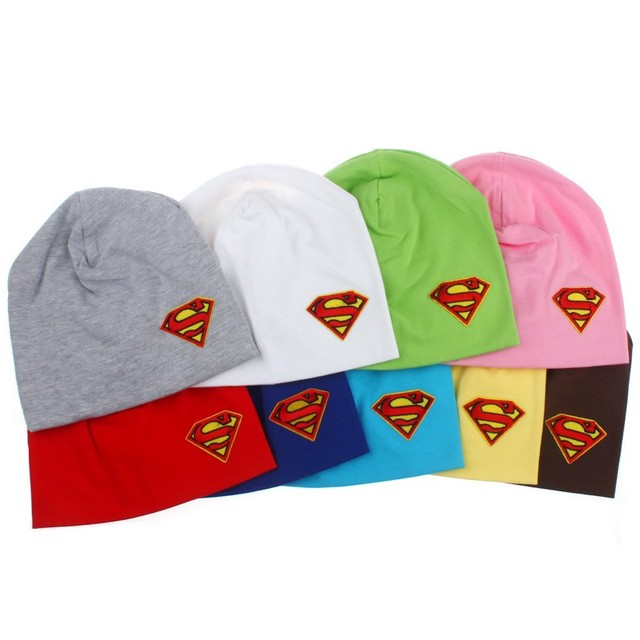 637877e4ae8 Boys Girls Super Cool Spring Autumn Baby Cotton Beanies Baby Superman  Design Hat Caps Newborn Photo Props