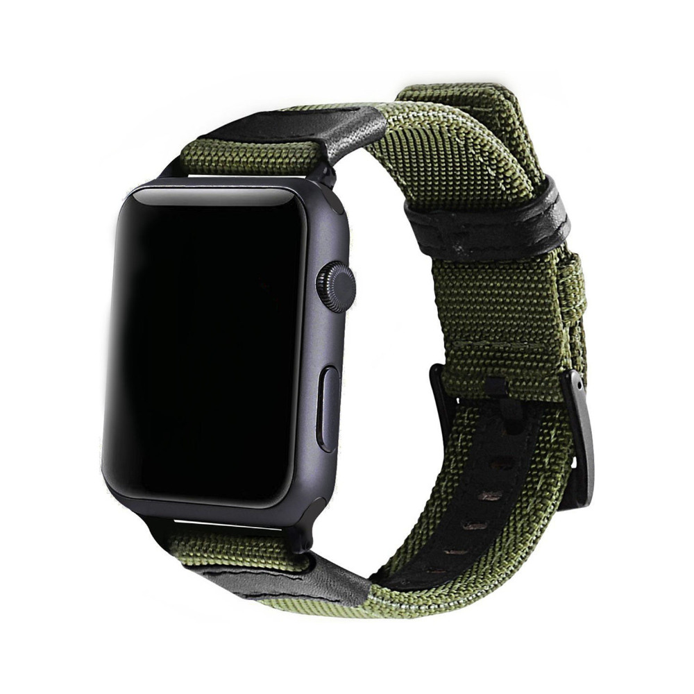 Manly Leather Nylon Band for Apple Watch 42mm 38mm Series 3 2 1 Iwatch Military style Woven Strap Bands Bracelet With Pin buck