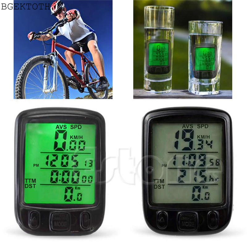 TCAM 1pc Backlight Waterproof Cycle Bicycle Bike LCD Computer Speedometer Odometer With LCD Backlight bicycle accessories