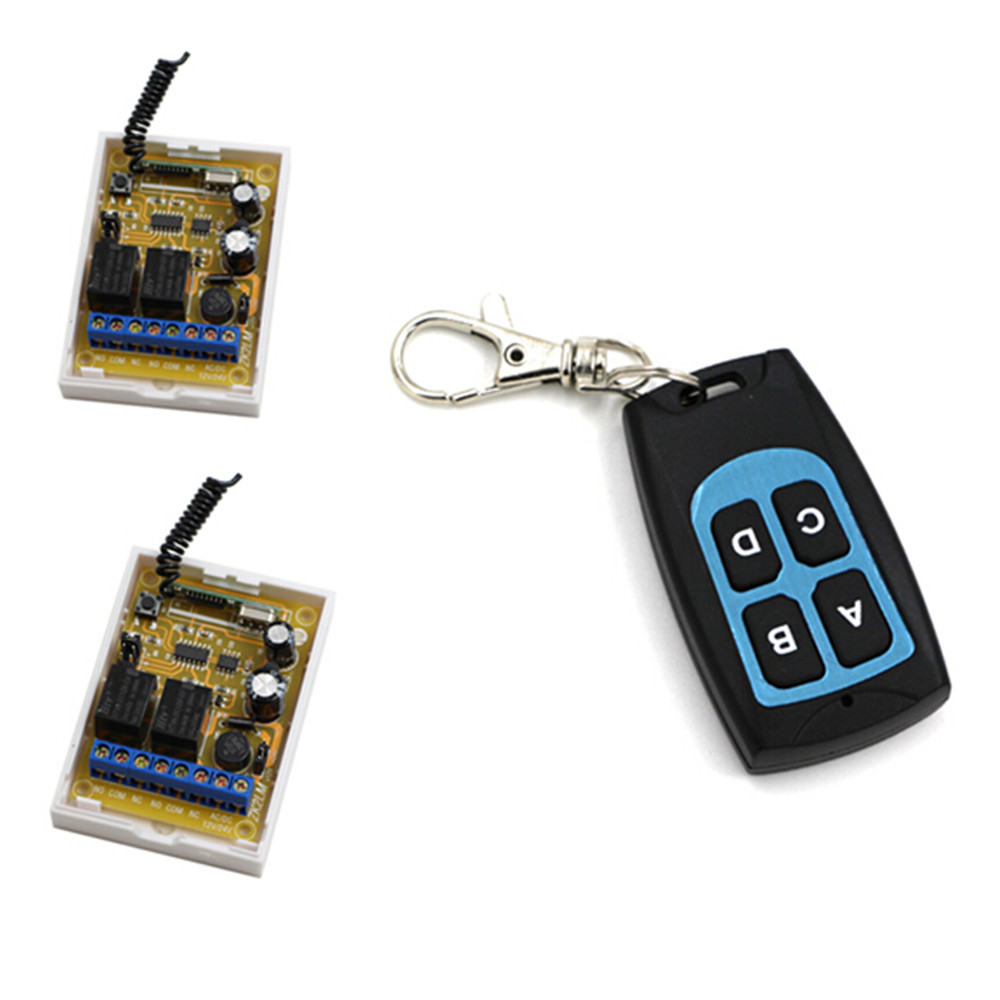 High Quality DC 12V DC 24V 2CH Wireless Remote Control Switch 2piece Receivers and Waterproof Transmitter with 4 Keys 2 receivers 60 buzzers wireless restaurant buzzer caller table call calling button waiter pager system