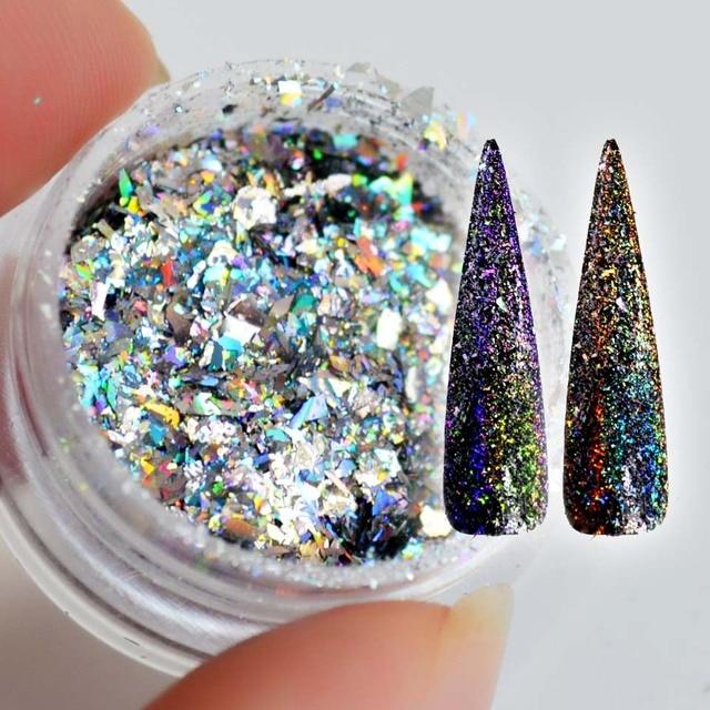 Copos de yuca láser para uñas lentejuelas brillo holográfico en polvo Galaxy Holo Nail Flakes Rainbow Nail Art Paillettes SF2010