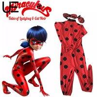 Kids Zip The Miraculous Ladybug Cos Costume Halloween Girls Ladybug Marinette Child Lady Bug Spandex Full