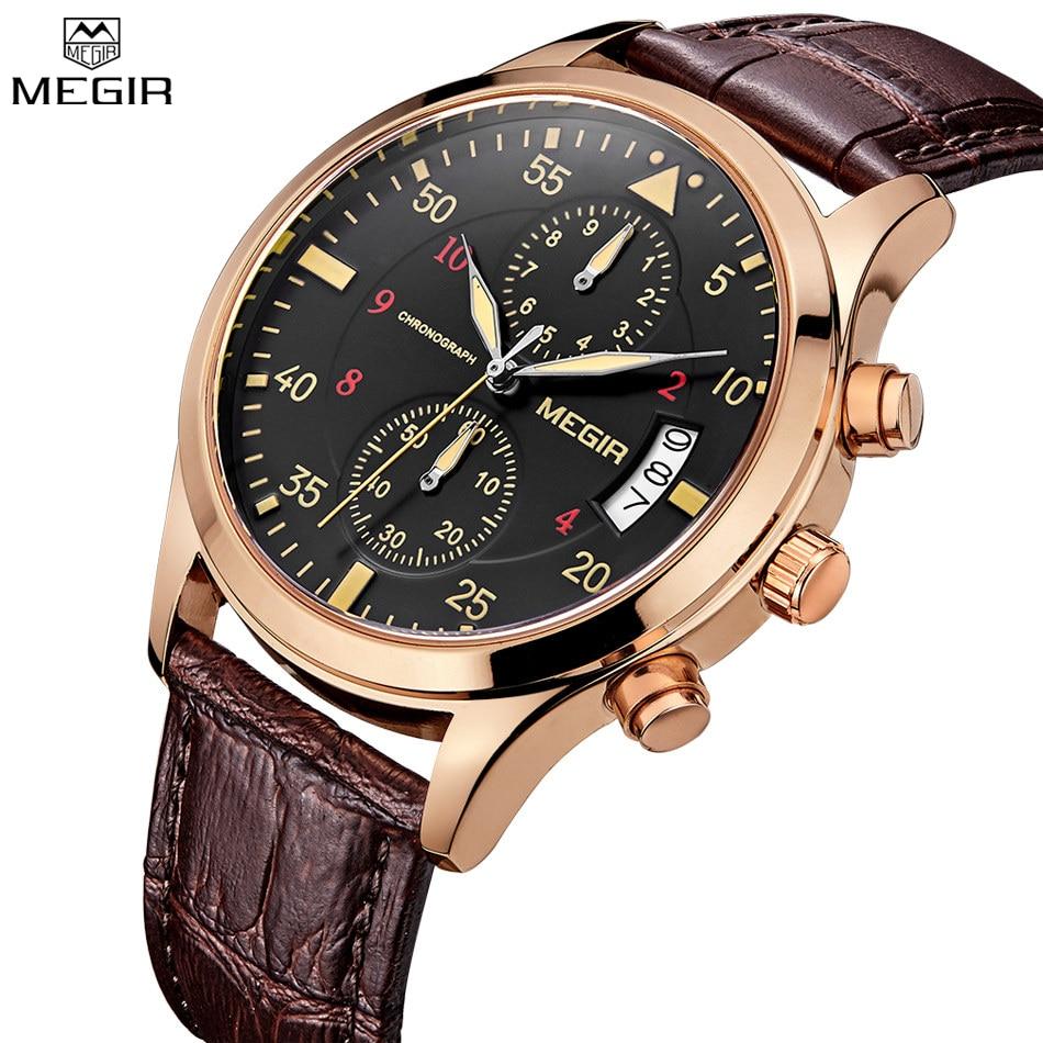 MEGIR Charm Men Chronograph Quartz Watches Military Outdoor Sports Men s Watch Leather Straps Auto Date