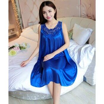 Ladies Sleeveless Chiffon Nightdress Plus Size Women Sexy Satin Silk Nightgown Female Lace Homewear Sleeping Dress B-5329
