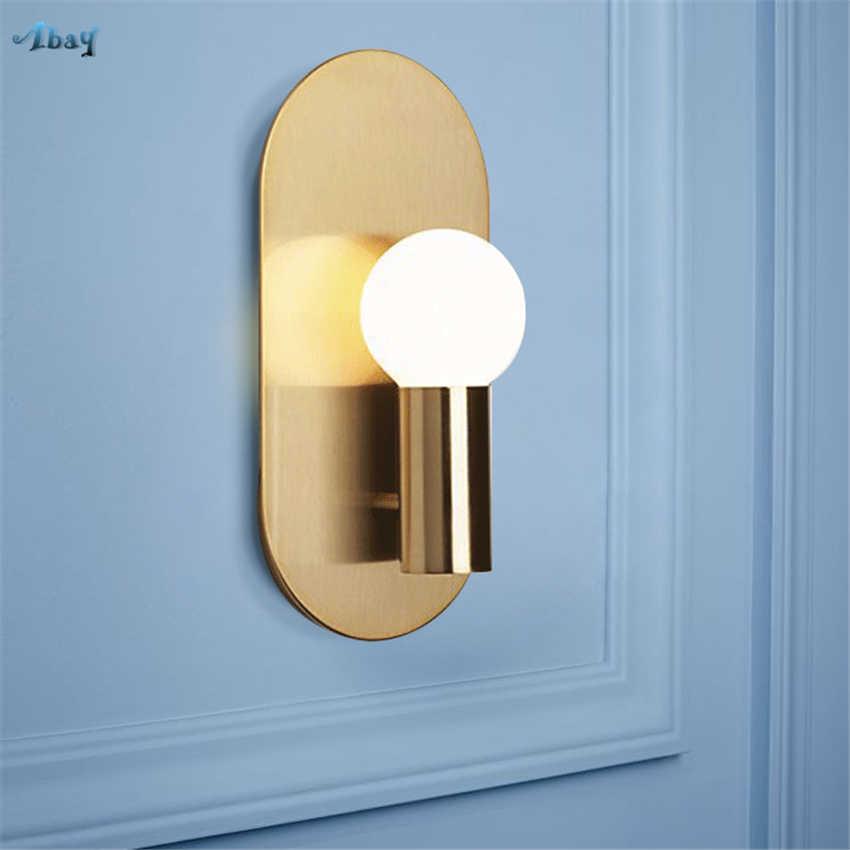 Скандинавские латунные Настенные светильники Гостиная прикроватные Спальня Медь фоновые обои настенные коридор огней зеркало переднего освещения