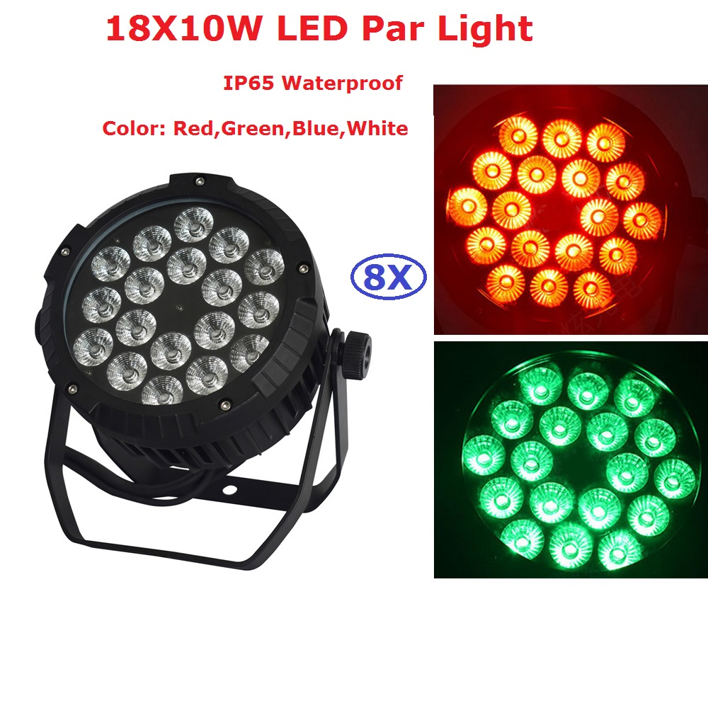 8XLot Outdoor Par Light 18X10W RGBW 4IN1 LED Flat Par Light Strobe DMX Controller For Disco Bar Strobe Dimming Effect Projector