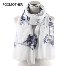 FOXMOTHER New Women Fashion Spring Summer White Pink Mint Color Nautical Theme Scarfs Fish Wheel Sailor Scarves Sea Ocean Scarf