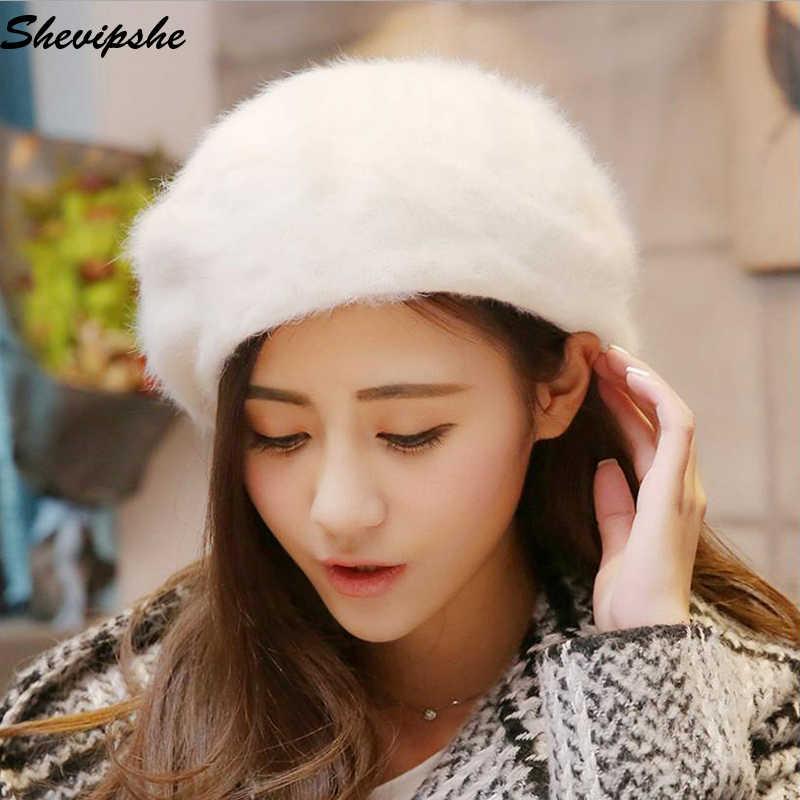 30d5e273dd070 ... Fleece Beret Hats Women Artist Trilby Wool Beret Bonnet Caps Winter  Girl Beret Hat Rabbit Fur ...