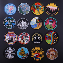Pulaqi 1 PCS Round UFO parches Embroidered Iron on Patches for Clothing DIY Motif Stripes Clothes Stickers Astronaut Badges F