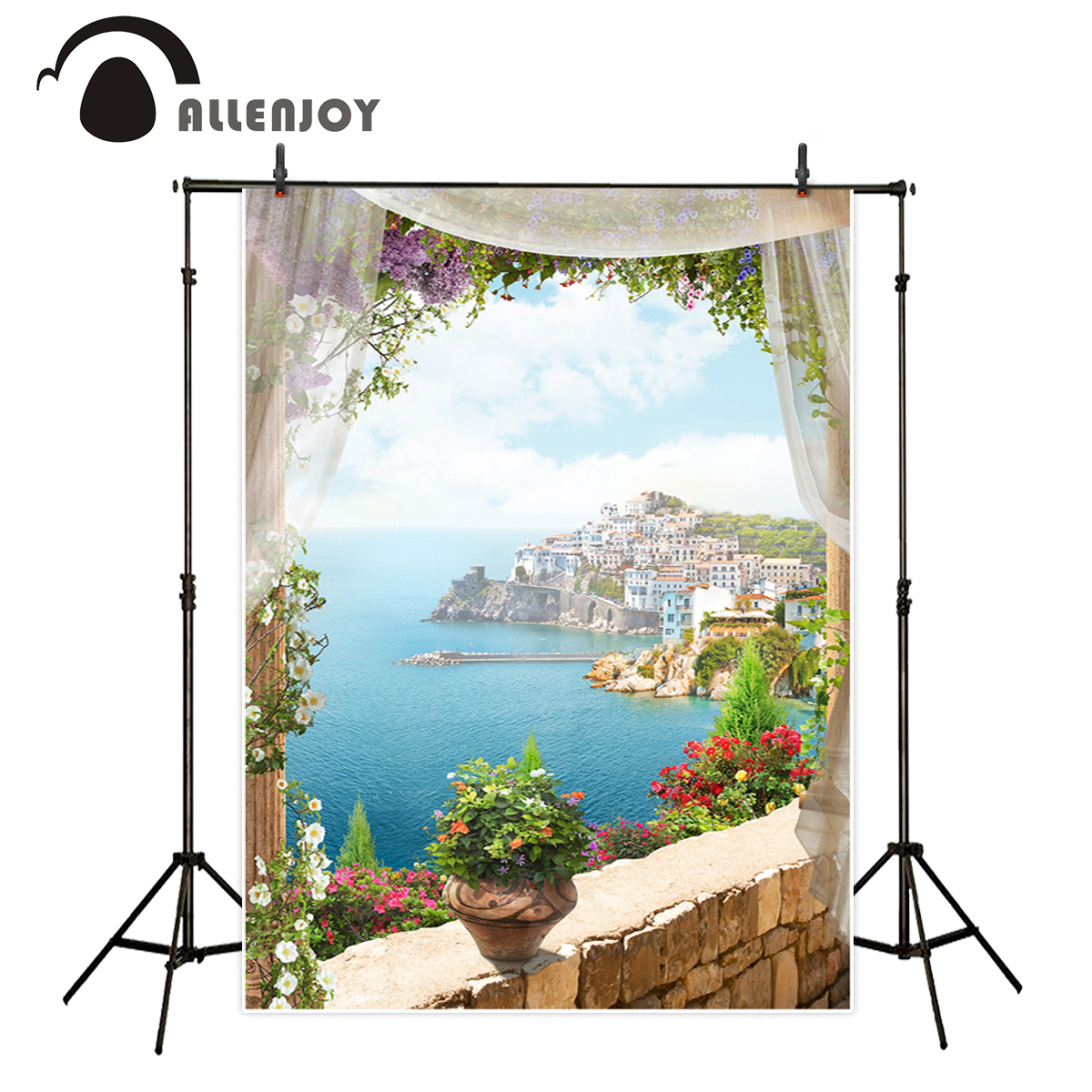 Allenjoy Ocean And Inshore City Photography Backdrops Floral Romantic Aesthetic Backgrounds For Photo Studio Camera Fotografica Backgrounds For Photo Studio Background For Photophotography Backdrops Floral Aliexpress