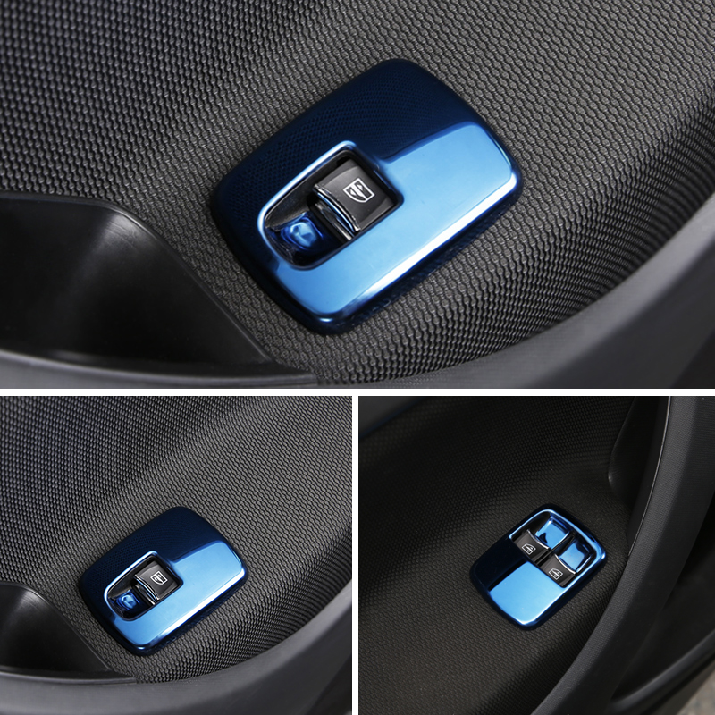 Car Interior Modified Window Lift Button Stainless Steel Decorative Panel Accessories For New Smart 453 2 Pieces / Set