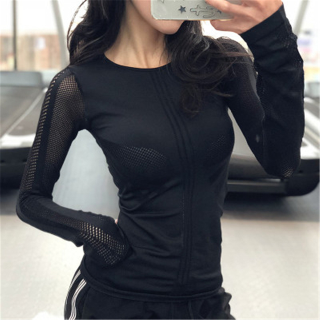 Hollow Out  Long Sleeve Yoga Women T Shirt