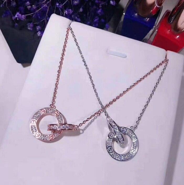 Offre spéciale pur 925 en argent Sterling collier rond pendentif pour les femmes argent/or Rose couleur bijoux collier Top qualité en gros