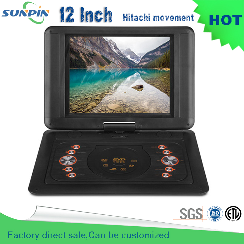 2016 New Arrival 12 Inch Blue Portable Dvd Player With Game Function And Misic Video Support For Sd / Ms Mmc Card 9 8 inch lcd screen digital multimedia portable evd dvd with tv avi cd r rw peg 4 game function 270 degree rotation hd player