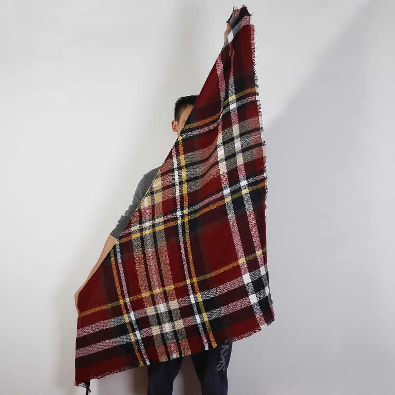Venta caliente 2019 de punto primavera invierno bufanda de las mujeres Plaid cálido cachemir bufandas chales marca de lujo cuello Bandana señora