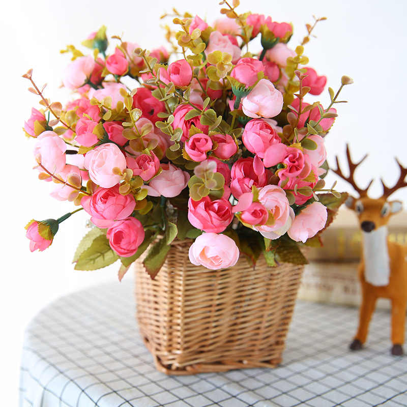 Luyue Silk Romantic Artificial Flower Small Peony Bride Bouquet Flower Wedding Decor Rose Wreath Home & Garden Table Decor