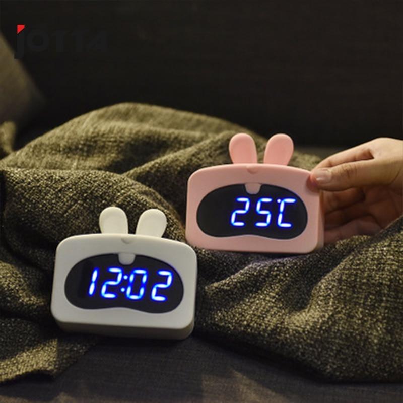 Simple Smart Cartoon Small Decoration USB Vibrating Multifunction LED Digital Creative Small Alarm Clock in Alarm Clocks from Home Garden