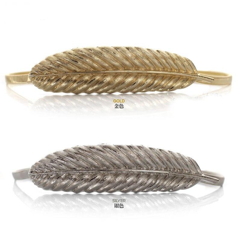 100 шт./лот) женский модный пояс невесты металлический перо из золота и серебра из нержавеющей стали эластичная цепь фирменный дизайн - Цвет: Mix