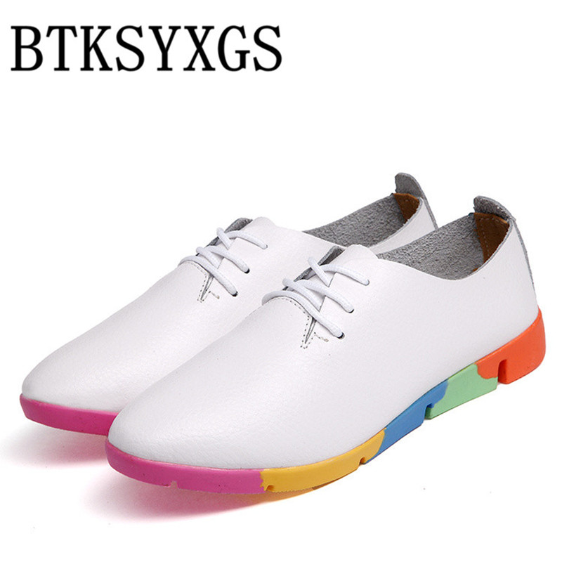 BTKSYXGS Women's flats shoes 100% genuine leather Women casual shoes 2017 new spring autumn fashion plus size 35-44 color 4 beyarne rivets decoration brand shoes flats women spring autumn fashion womens flats boat shoes sexy ladies plus size 11