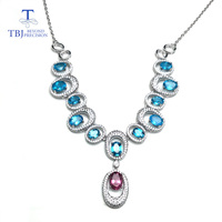 TBJ,Luxury excellent necklace with natural apatite and tourmaline gemstone in 925 sterling silver fashion jewelry for party wear