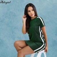 Adogirl Striped Patchwork T Shirt Dress Summer Short Sleeve O Neck Casual Pencil Dress Workout Pockets
