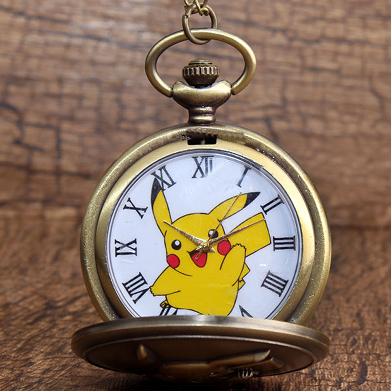 Japan Anime Pokemon Pocket Watch Necklace Vintage Kawaii Pikachu Quartz Chain Watch Pendant For Children Boy Gift