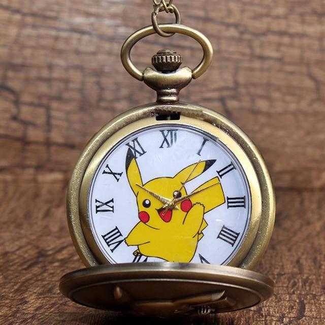 Japan Anime Pokemon Pocket Watch Necklace Vintage Kawaii Pikachu Quartz Chain Wa
