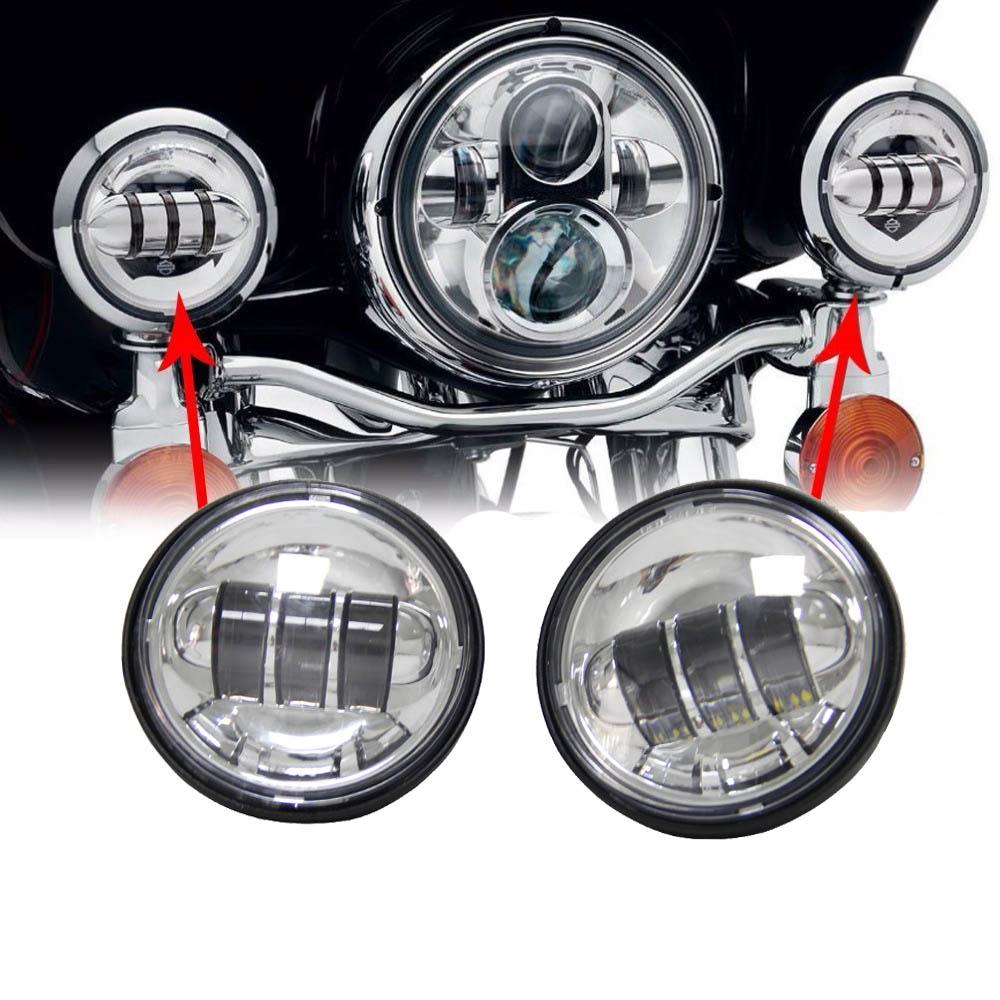 4.5 дюймов светодиодные Противотуманные фары ближнего света для Harley Davidson мотоциклов вспомогательная Лампа проектор Daymaker света(2 шт )