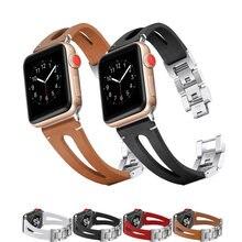 Ремешок кожаный для apple watch band 44 мм 40 42 38 браслет