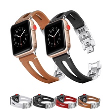 leather&link bracelet strap for apple watch band 42mm 38mm correa metal watchband for iwatch 4/3/2/1 44mm 40mm high quality belt high quality ceramic watchband original link bracelet strap connector adapter for apple watch iwatch 38mm 42mm