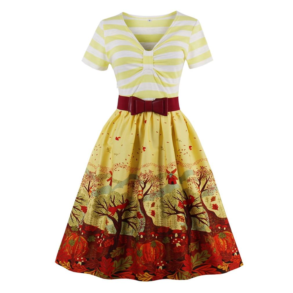 Brand New 2017 Women Vintage Dress Hepburn Retro Print Yellow Dress Robe Rockabilly Feminino Vestidos Hepburn