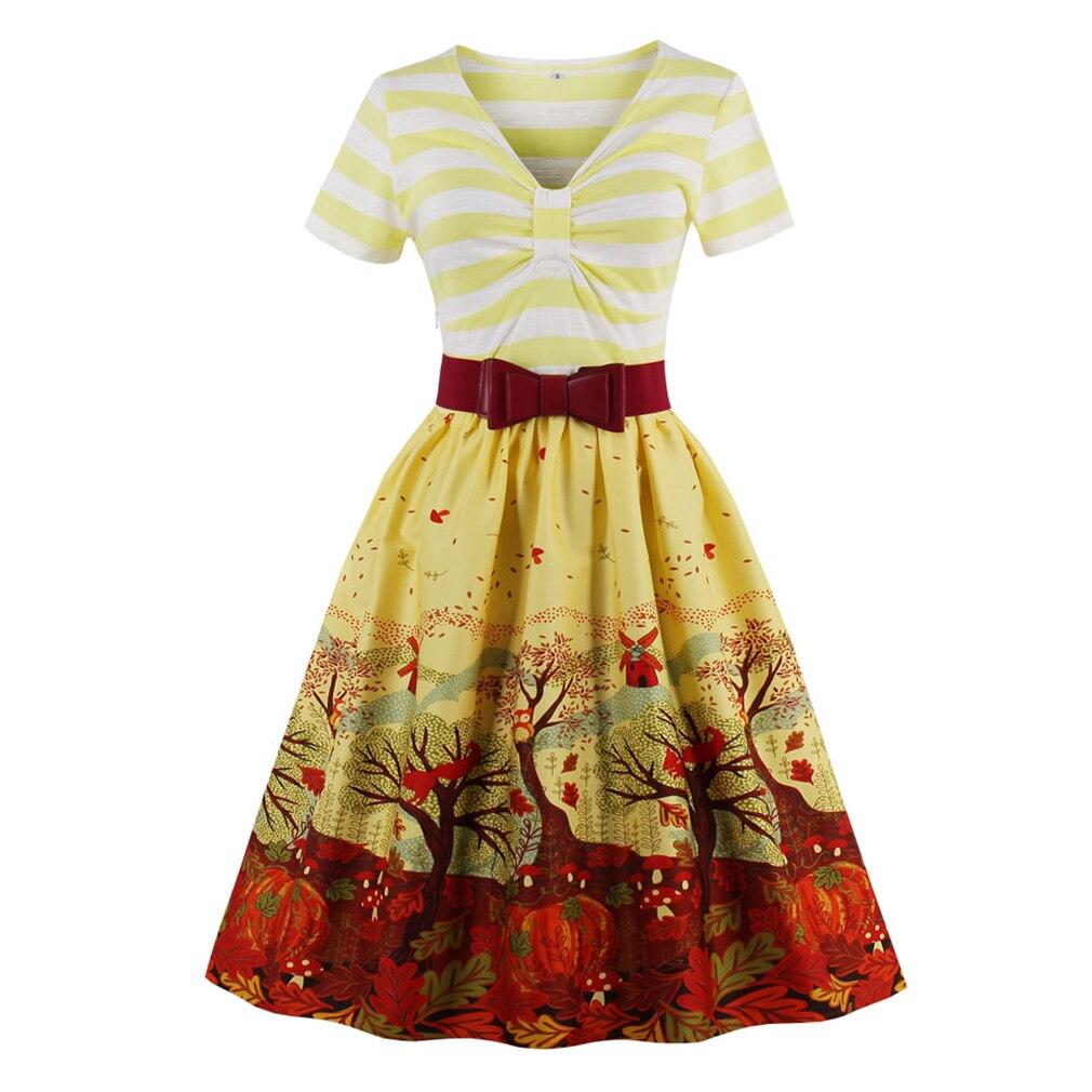 Gloednieuwe 2017 vrouwen vintage dress hepburn retro print geel dress gewaad rockabilly feminino vestidos hepburn 50 s tuniek jurken-in Jurken van Dames Kleding op AliExpress - 11.11_Dubbel 11Vrijgezellendag 1