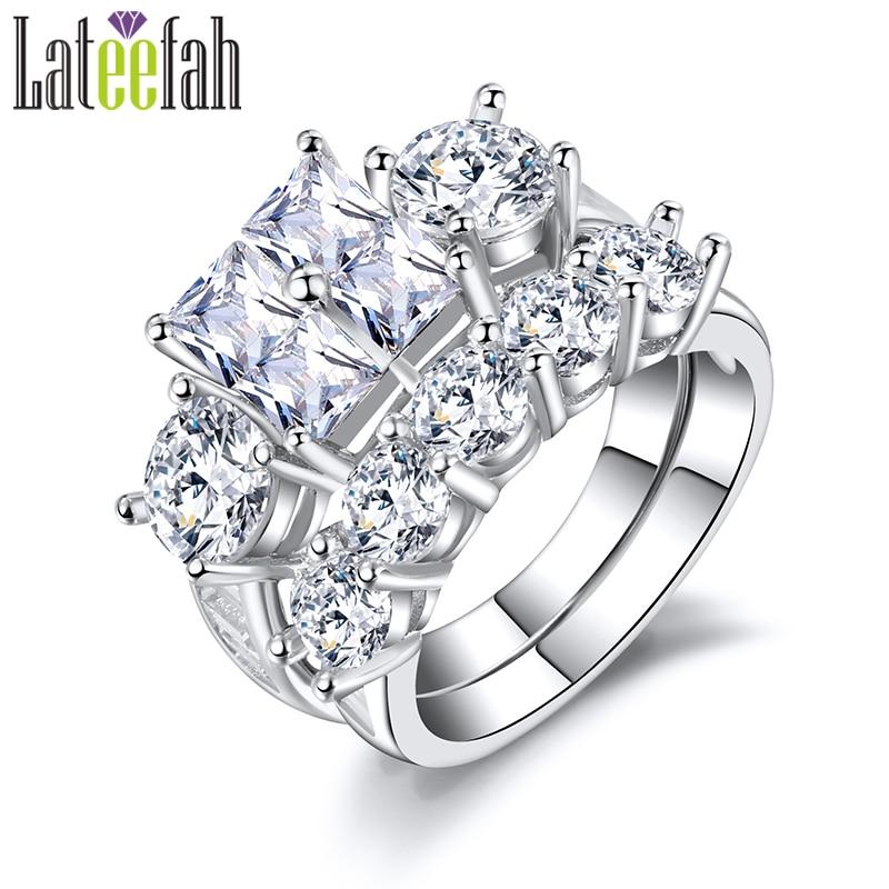 Lateefah Art Deco Princess Cut Wedding Rings for Women Amazon Brilliant Cubic Zirconia Big Bridal Engagement Ring Set Anel Bague