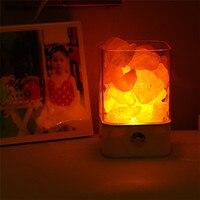 Trecaan USB Salt LED Night Light Himalayan Crystal Rock Salt Lamp 7Color Air Purifier Night Light